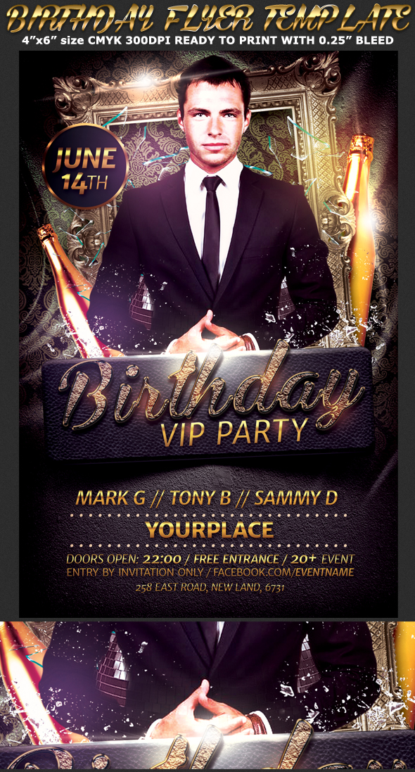 birthday  bachelor party flyer template